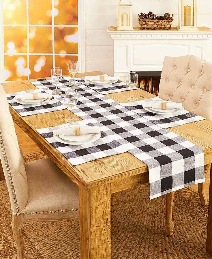 Black & White Check Table Placemats and Runners XL Country