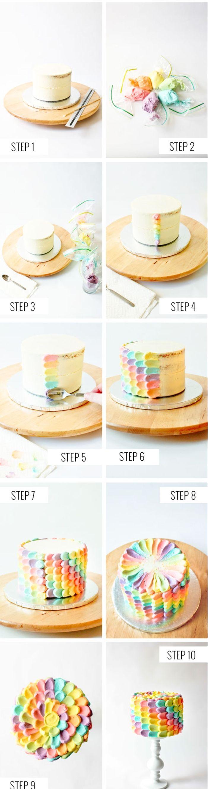 comment réaliser une décoration de gâteau arc en ciel en pétales colorées