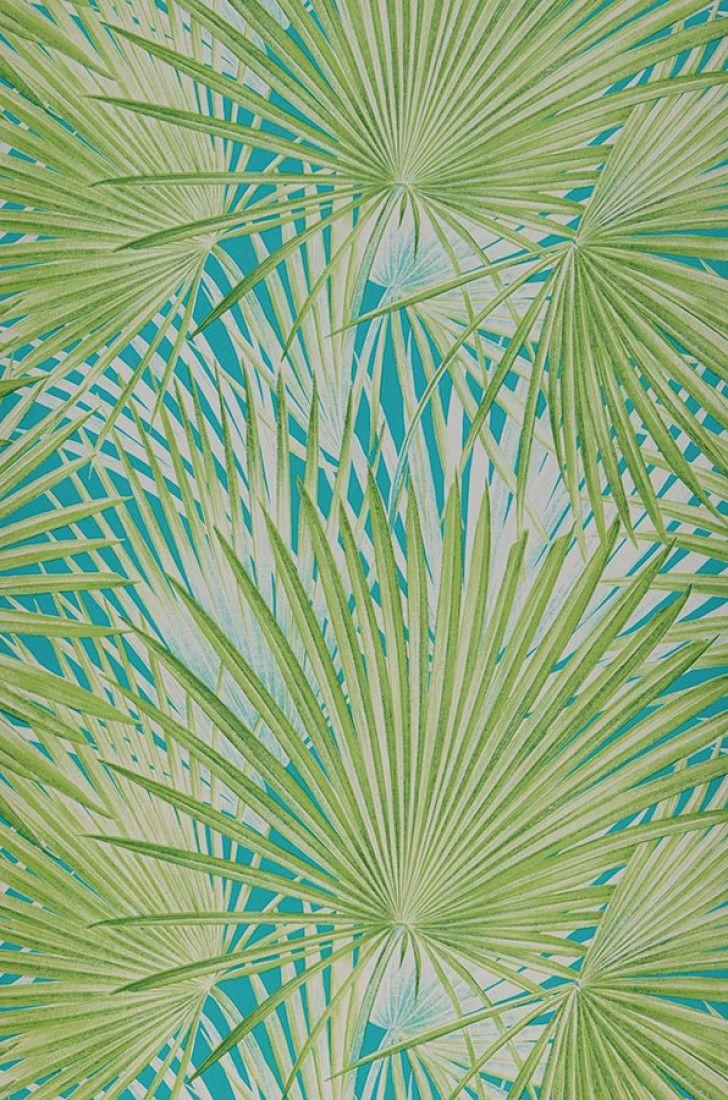 Carta Da Parati Palme.Iboka Tessuti E Carta Da Parati Sanderson Turquoise Wallpaper