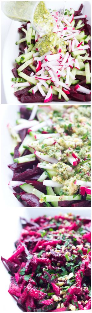 Simple and easy vegetable salad with beets, cucumbers, and radishes, tossed in a crunchy basil pesto vinaigrette | littlebroken.com @littlebroken