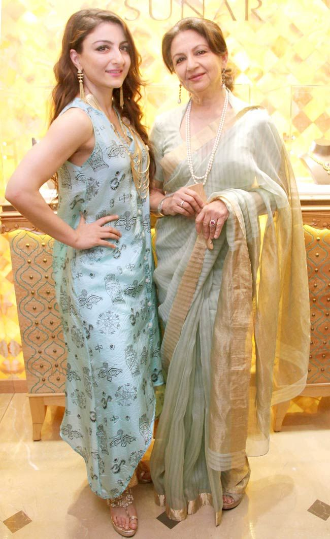 Soha Ali Khan and Sharmila Tagore at a jewellery store launch.