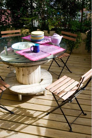 spool table with glass top