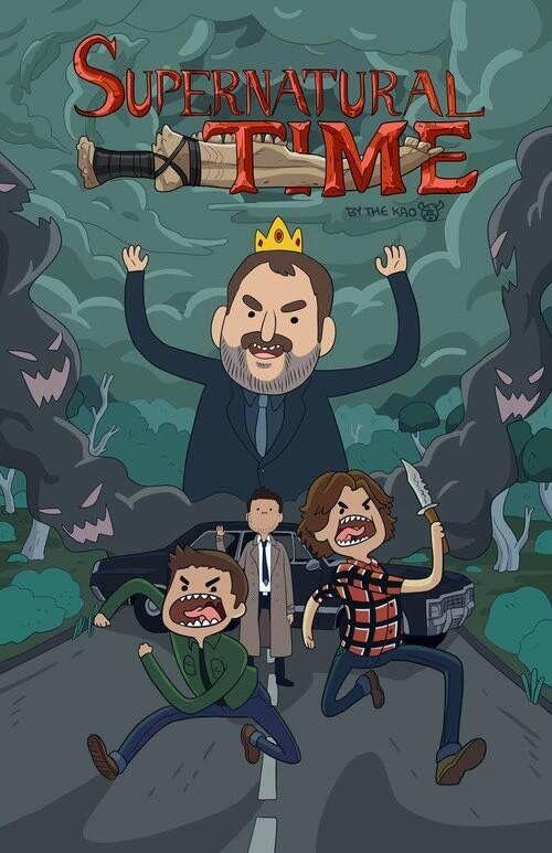 Que horas são?  HORA DE SOBRENATURAL (n fez sentido mas ok). Eu amei o desenho de Sam e Dean correndo feito loucos (tipo eu) e Castiel de boas no fundo.