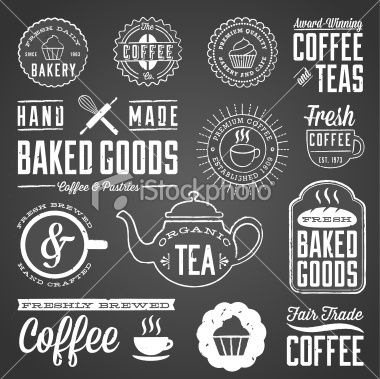 Chalkboard Cafe and Bakery Designs Royalty Free Stock Vector Art Illustration