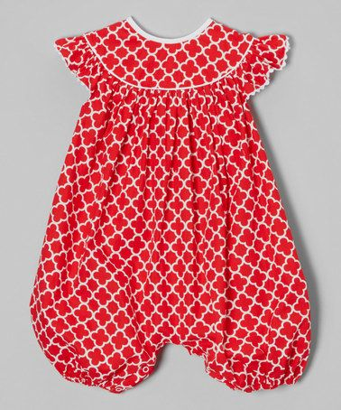 Look what I found on #zulily! Red Quatrefoil Angel-Sleeve Bubble Romper - Infant & Toddler by Barefoot Children's Clothing #zulilyfinds