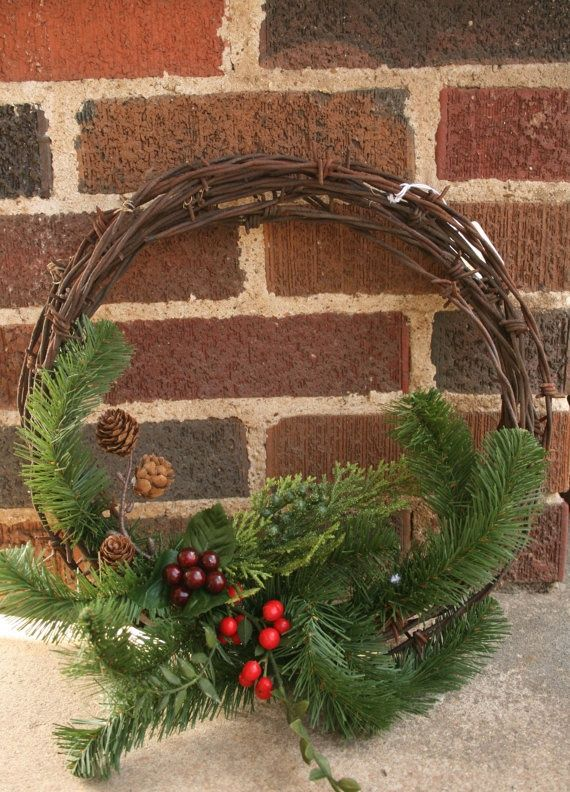 barbed wire wreath/christmas | Recycled barbed wire Winter Wreath by ... | Rustic Country Christmas
