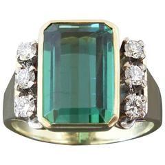Modernist Tourmaline Diamond Gold Ring
