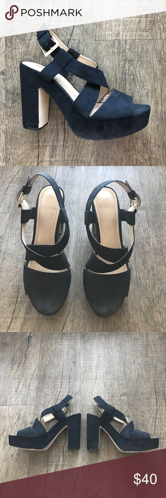 "H&M Black Platform Sandals Pre-Loved and good condition. 5"" heel, faux suede. Normal wear. No tears! H&M Shoes"