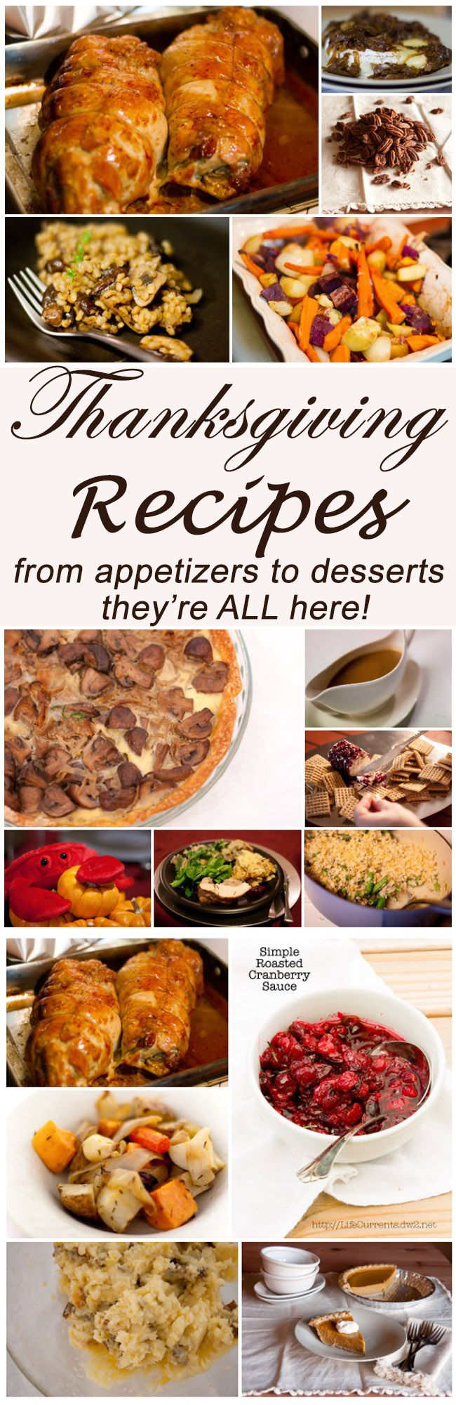 Thanksgiving dishes: from appetizers, to salads, soups, breads, sides, main, and desserts, it's all here. Even some full menus!