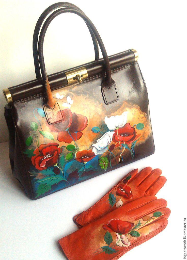 """Купить Кожаная сумочка """"Маковая нежня """". Ручная роспись. Нат. кожа - сумка"""