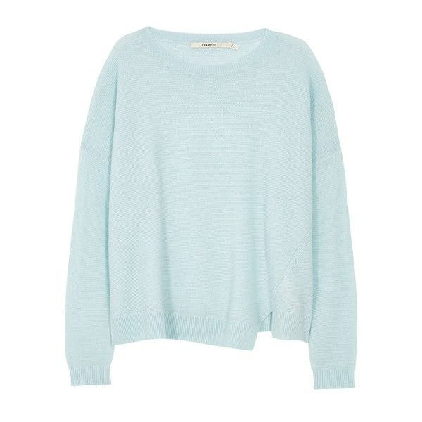 J BRAND Reno Sweater found on Polyvore featuring tops, sweaters, shirts, winter sky, twist top, j brand top, shirts & tops, ribbed top and ribbed shirt