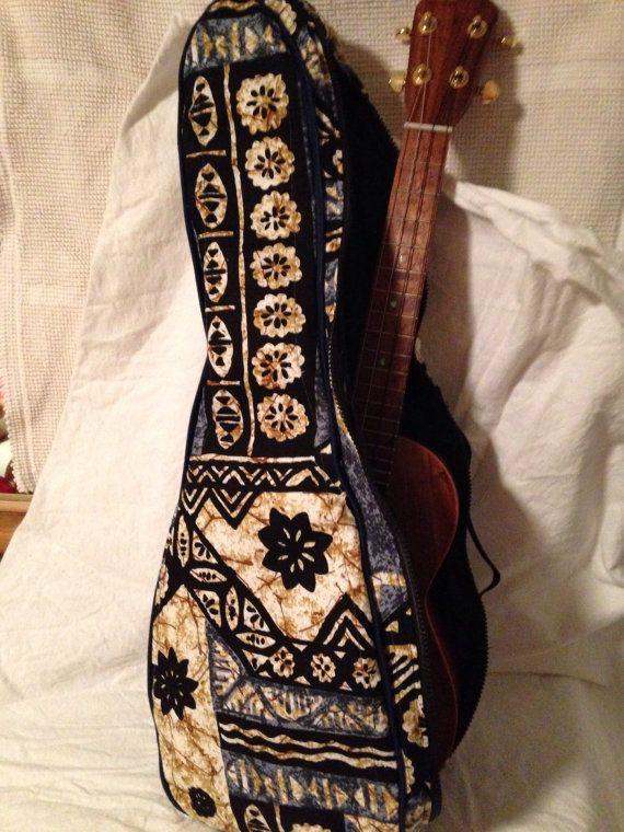 Ukulele gig bag in Hawaiian tribal pattern print.