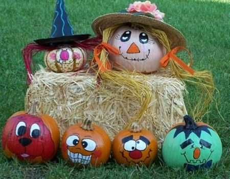 painting ideas for happy pumpkin faces