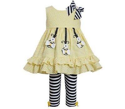 Bonnie Jean Girls Yellow Seersucker Bee Spring Summer Dress Outfit Leggings 12M