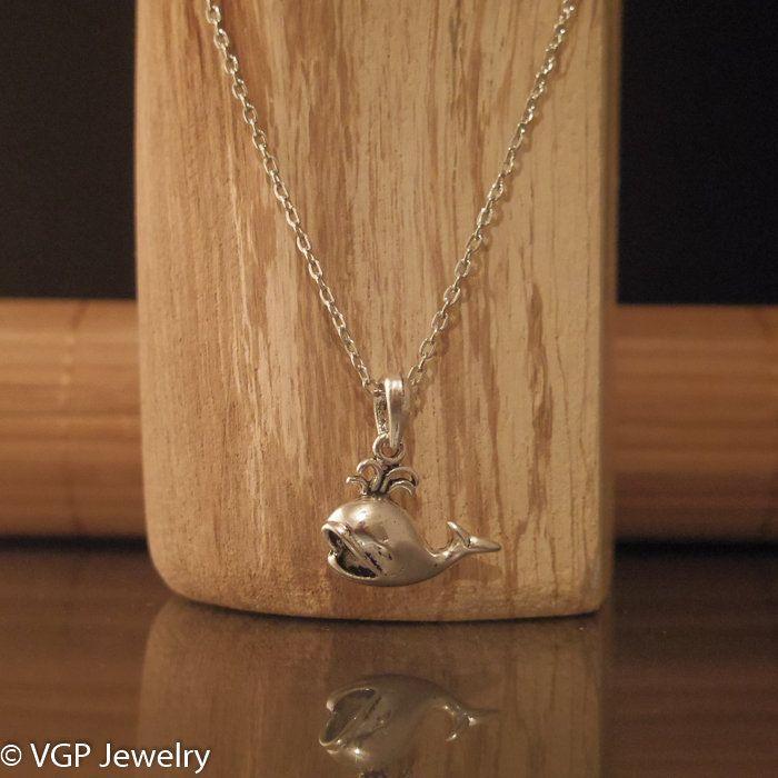 Kleine Walvis Ketting: korte zilverkleurige ketting