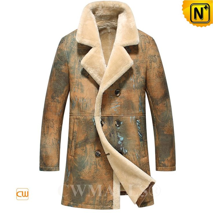 CWMALLS® Custom Mens Printed Shearling Pea Coat CW816116 - Designer shearling pea coat for men crafted from natural, premium sheepskin shearling material with allover printed,warm printed shearling coat featuring with double breasted, notched collar and side hand pocket,enhance your protection from wind and cold. www.cwmalls.com PayPal Available (Price: $1887.89) Email:sales@cwmalls.com