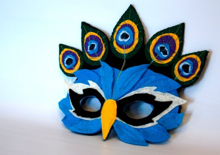 Limited Edition Peacock Mask for pretend play Mardi Gras. $26.00, via Etsy.
