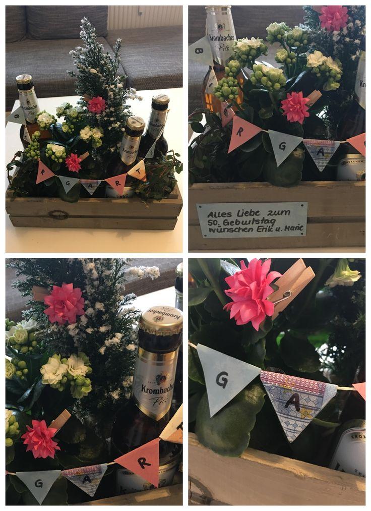 Winter-Biergarten für Geburtstagskinder in der kalten Jahreszeit- Geldgeschenke - Wimpelkette mit Geldscheinen