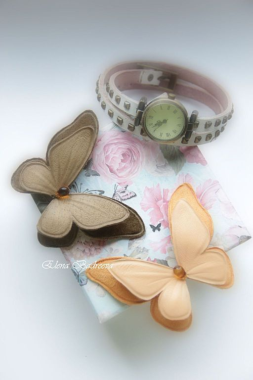 """Купить Брошь из кожи бабочка """"Caramel"""" - бежевый, коричневый, бабочка, бабочка брошь, кожаная брошь"""