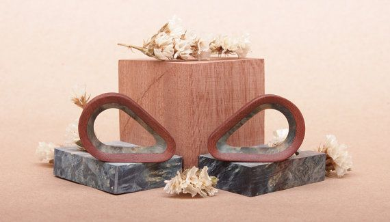 wooden teardrop plugs with inlay  custom ear plugs  gauges