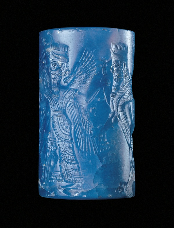Assyrian Cylinder Seal with Winged Genius and Human-headed ...