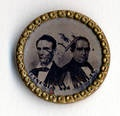 The Lincoln-Hamlin 1860 ticket portrayed on a campaign button.