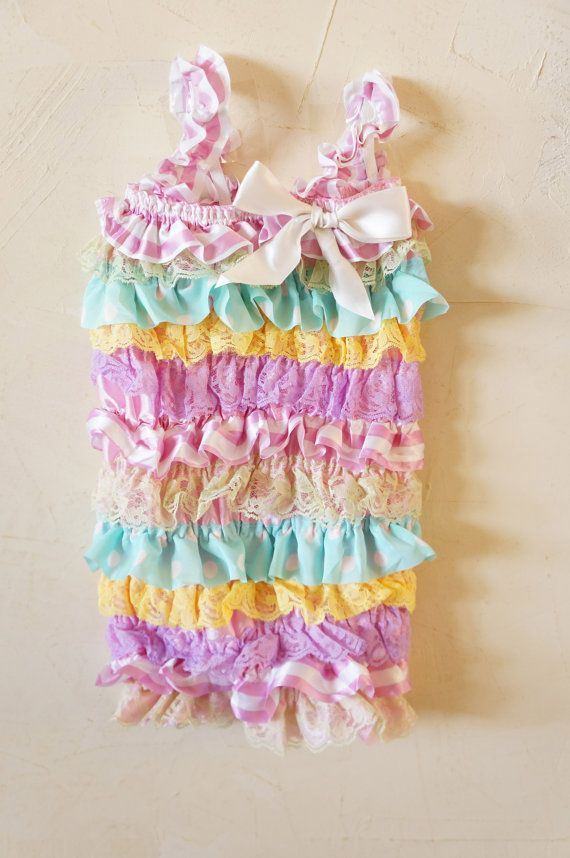 Baby Romper Easter Romper Baby lace Romper by PoshPeanutKids
