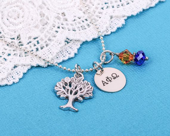 ALPHA PHI OMEGA Hand Stamped Charm Necklace with royal blue and gold crystal