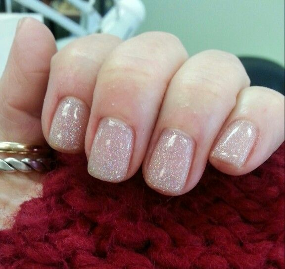 Short gel manicure, small glitters. Name of polish: Vegas Nights. Subtle glitter.  :)