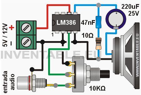 """Miniamplificador de audio de 1/2 Watt con el LM386---  El LM386 es un pequeño y práctico amplificador integrado de 8 patitas que necesita muy pocos componentes externos para poder funcionar. El circuito que les muestro nos permite de armar """"al vuelo"""" un amplificador de pruebas, con una ganancia de 20 y una potencia de 1/2 Watt (en realidad entre 0,3W y 0,8W en base a la tensión de alimentación y a la impedancia del parlante). El circuito es mono, para la versión estéreo se necesita…"""