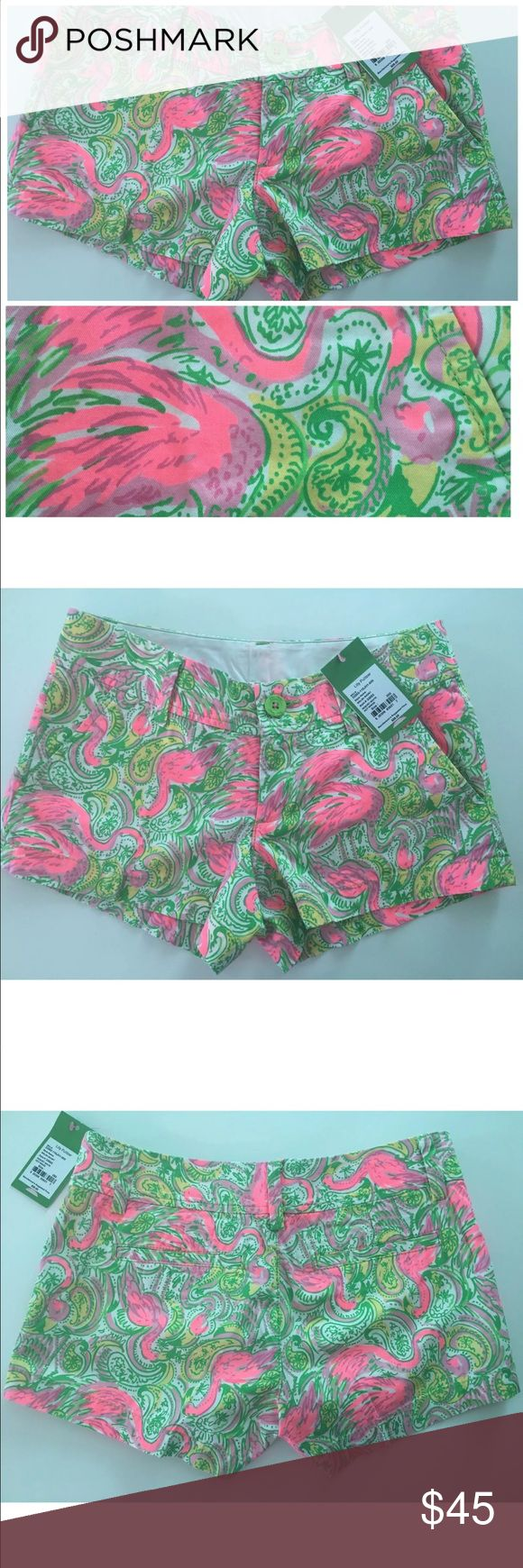 Lilly Pulitzer Walsh Shorts Flamingo Hot Wings *read below for measurements* This is a pair of Lilly Pulitzer Walsh shorts in resort white Hot Wings size 000. They are new with tag originally $58.  