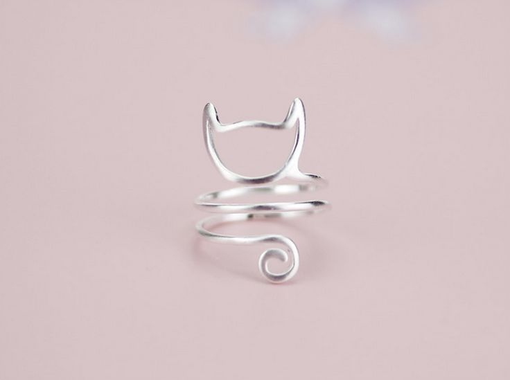 Winding wire drawing cute cat 925 sterling silver ring, a perfect gift