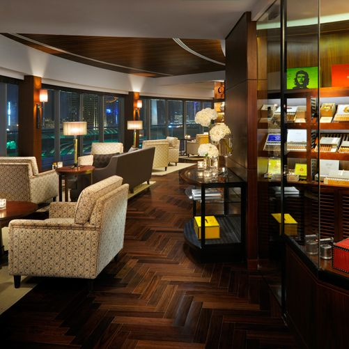The address downtown dubai dining the cigar lounge retro for Best private dining rooms dubai