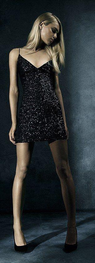 Left: Black Sequin Front Cami Dress, £29.99, New Look.