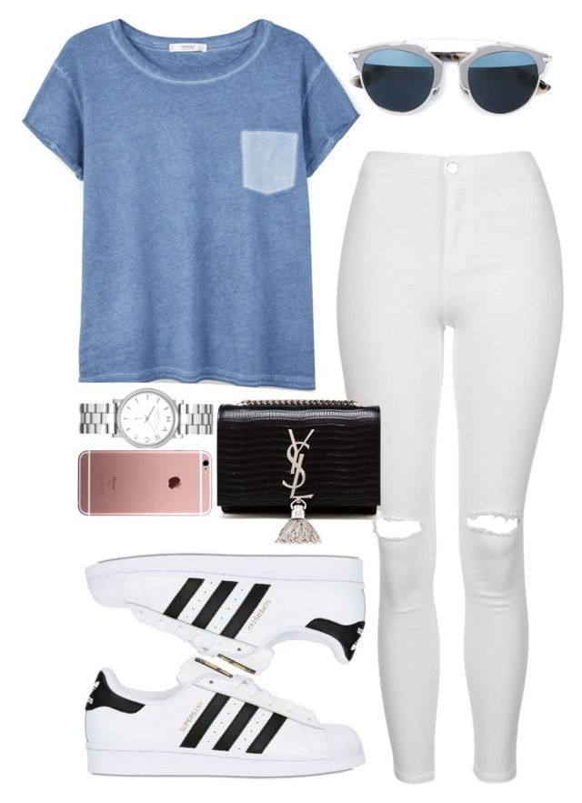 """""""Untitled #440"""" by anassantos ❤ liked on Polyvore featuring Topshop, MANGO, adidas Originals, Christian Dior, Marc by Marc Jacobs and Yves Saint Laurent"""