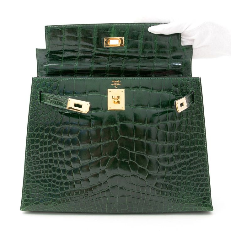 Hermes Kelly Alligator Lisse Vert Emerald 32 2