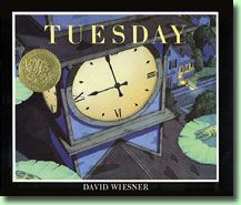 Tuesday by David Wiesner. Caldecott Medal Award winner. In this wordless picture book, frogs rise up on their lilypads, float through the air, and explore their neighbors' houses.