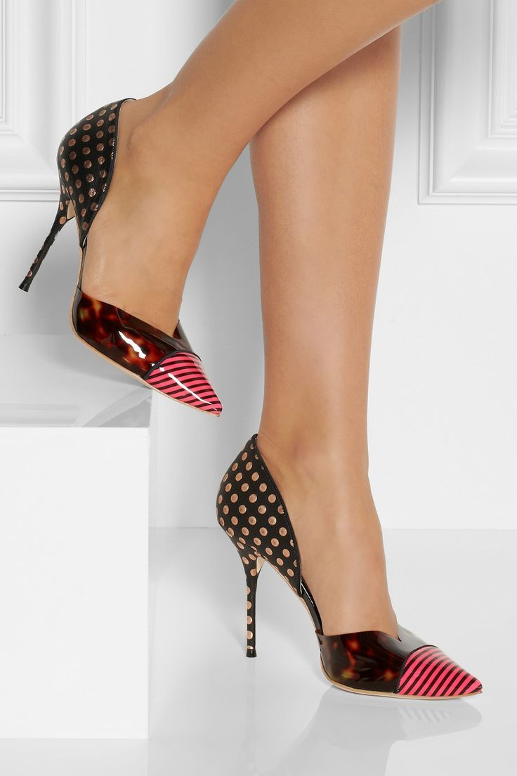 Sophia Webster Jessica Printed Leather and Vinyl Pumps