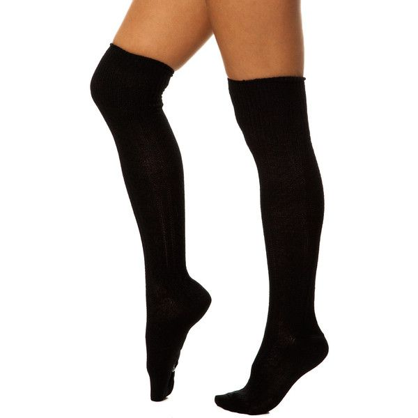 K. Bell The Cable Knit Knee High Socks in Black ($9.95) ❤ liked on Polyvore featuring intimates, hosiery, socks, accessories, outfits, black, cable knee socks, knee socks, black hosiery and knee length socks