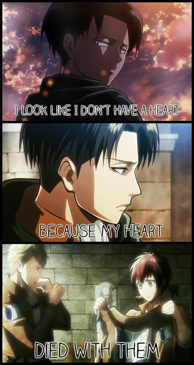 I look like I don't have a heart because heart died with them, sad, text, Levi, Farlan, Isabel; Attack on Titan