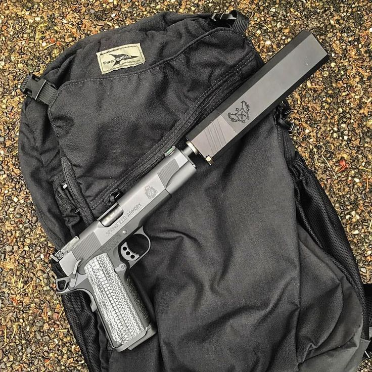 Top Shelf | #slingersclub  Via @mike498 Springfield 9mm 1911 with SilencerCo Osprey. First Spear Comm pack