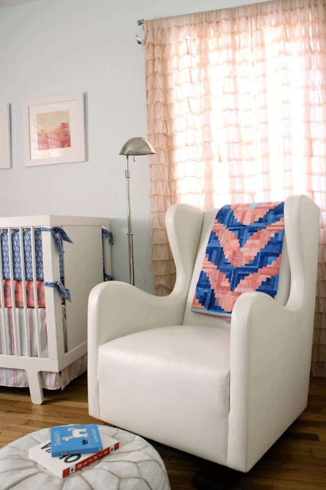 How fun is this quilted chevron blanket over the glider?! Such an eclectic touch to this modern nursery! #nursery: Modern Girls Nurseries, Charms Nurseries, Eclectic Nurseries, Blue Girls Nurseries, Blue Girl Nurseries, Modern Girl Nurseries, Modern Nurseries, Nurseries Glam, Chevron Blankets