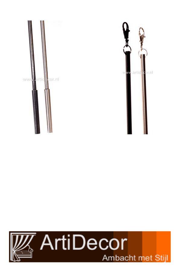 Lange trekstang 150cm in 3 kleuren verkrijgbaar. Mat chroom Mat chroom zwart Mat brons Een goede clip bevestiging past op elke runner of gordijnring van een roeden. Gewicht 880 gram lengte greep 9cm en 12 mm dik. Vragen? wij van ArtiDecor staan voor u klaar. 072-5158252