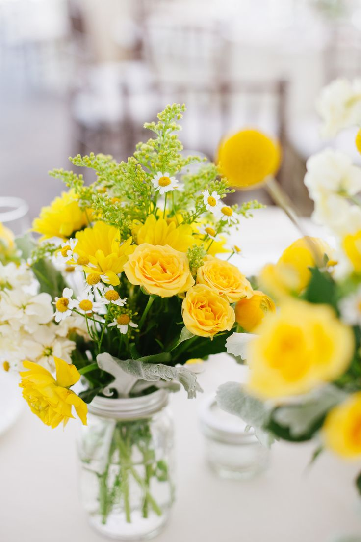 Love the colors! Change vase.   Read More: http://www.stylemepretty.com/tri-state-weddings/2014/04/07/romantic-yellow-gray-wedding/