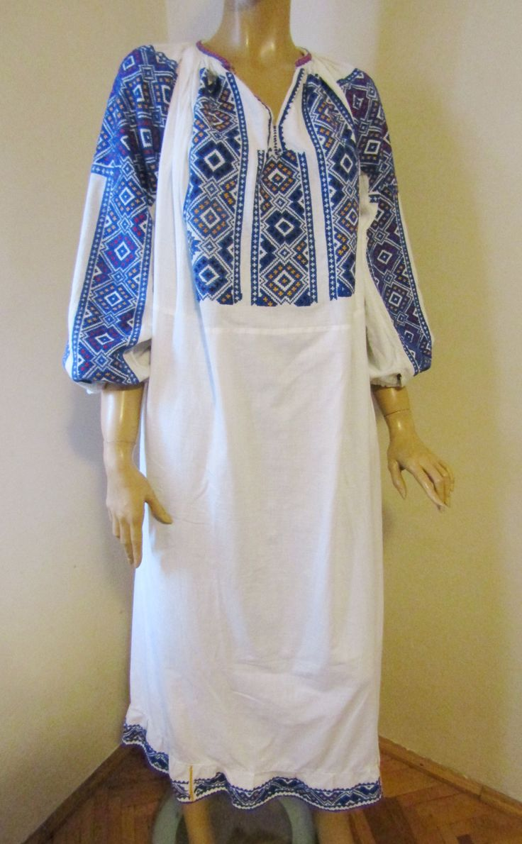 Gorgeous 50 - 60 years old Romanian traditional blouse dress from Muscel area.   Available at www.greatblouses.com