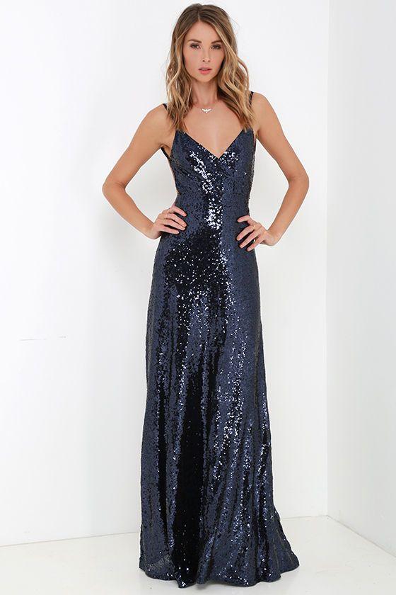 $84 Charismatic Spark Navy Blue Sequin Maxi Dress at Lulus.com!