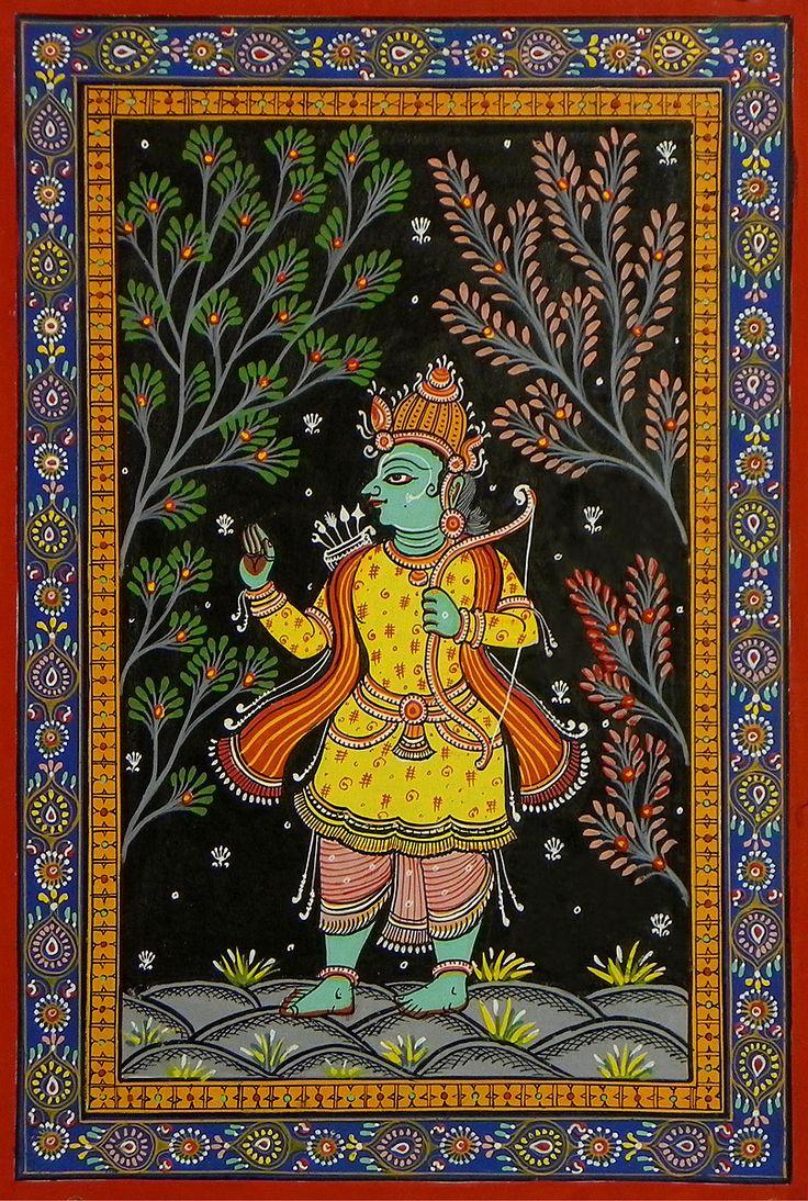 Rama Avatar - Seventh Incarnation of Lord Vishnu (Orissa Pattachitra Painting on Patti - Unframed)