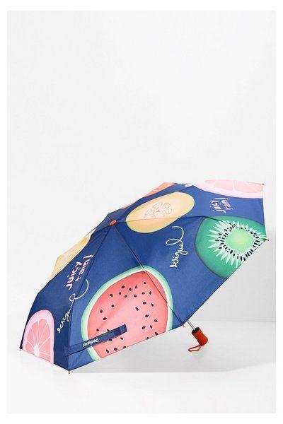 Ombrello pieghevole blu con stampa - Fruits | Desigual.com