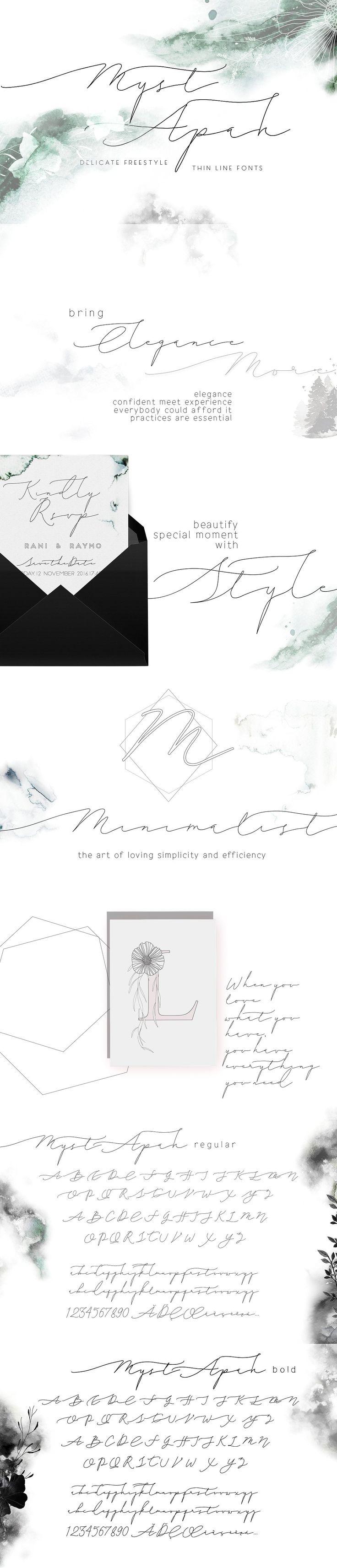 MystApah Delicate Freestyle Fonts by mycandythemes on @creativemarket