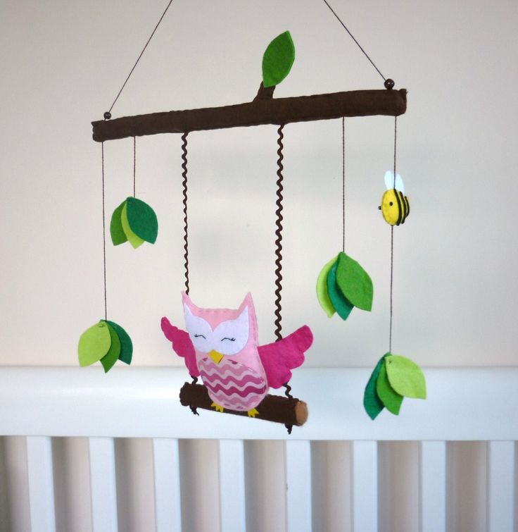 Happy Swinging Owl - Baby Mobile or Wall Hanging - Customize to suit your decor - Ready to send now. $60.00, via Etsy.